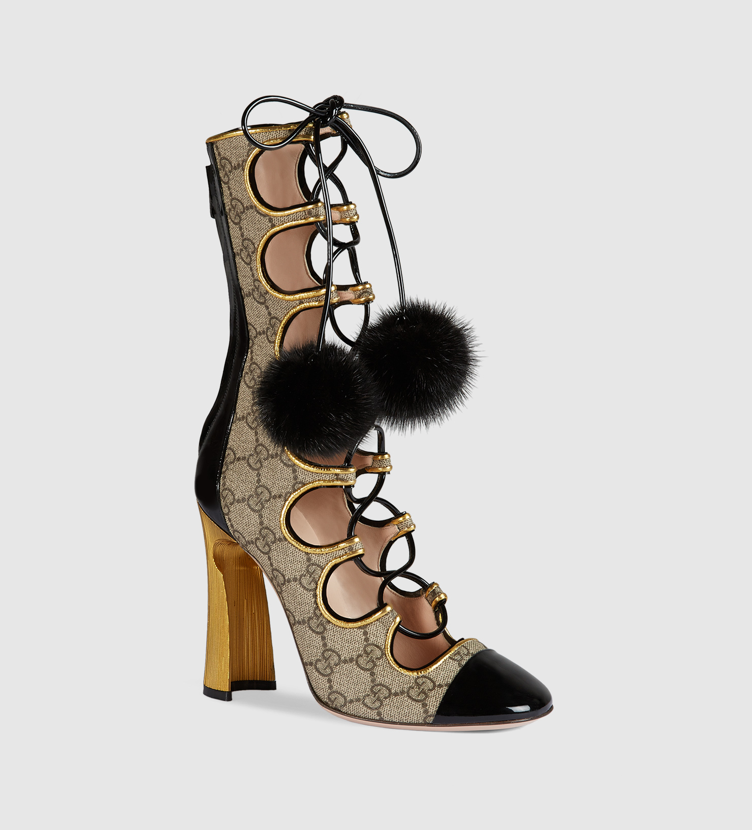 Lyst Gucci Gg Supreme Lace Up Boot In Natural