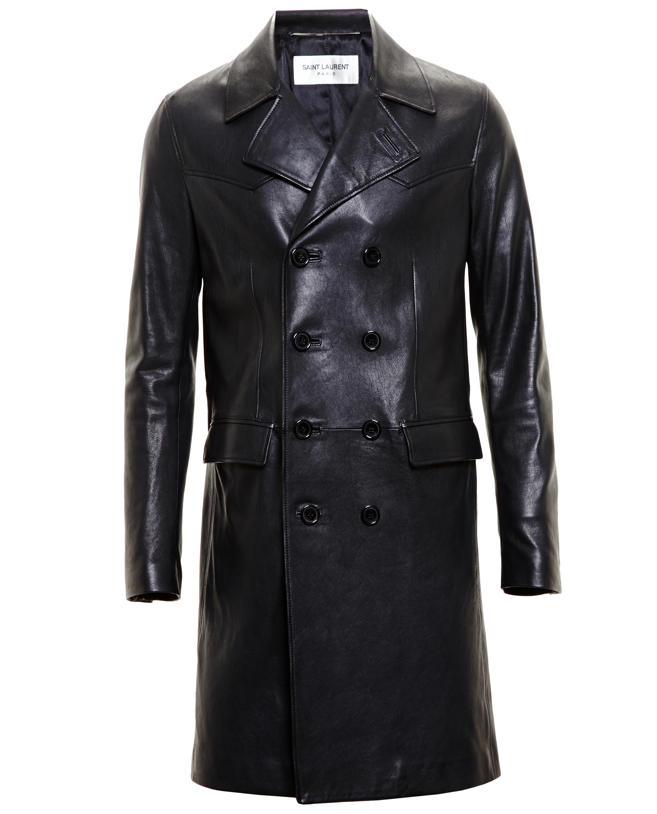 Saint laurent Leather Trench Coat in Black | Lyst