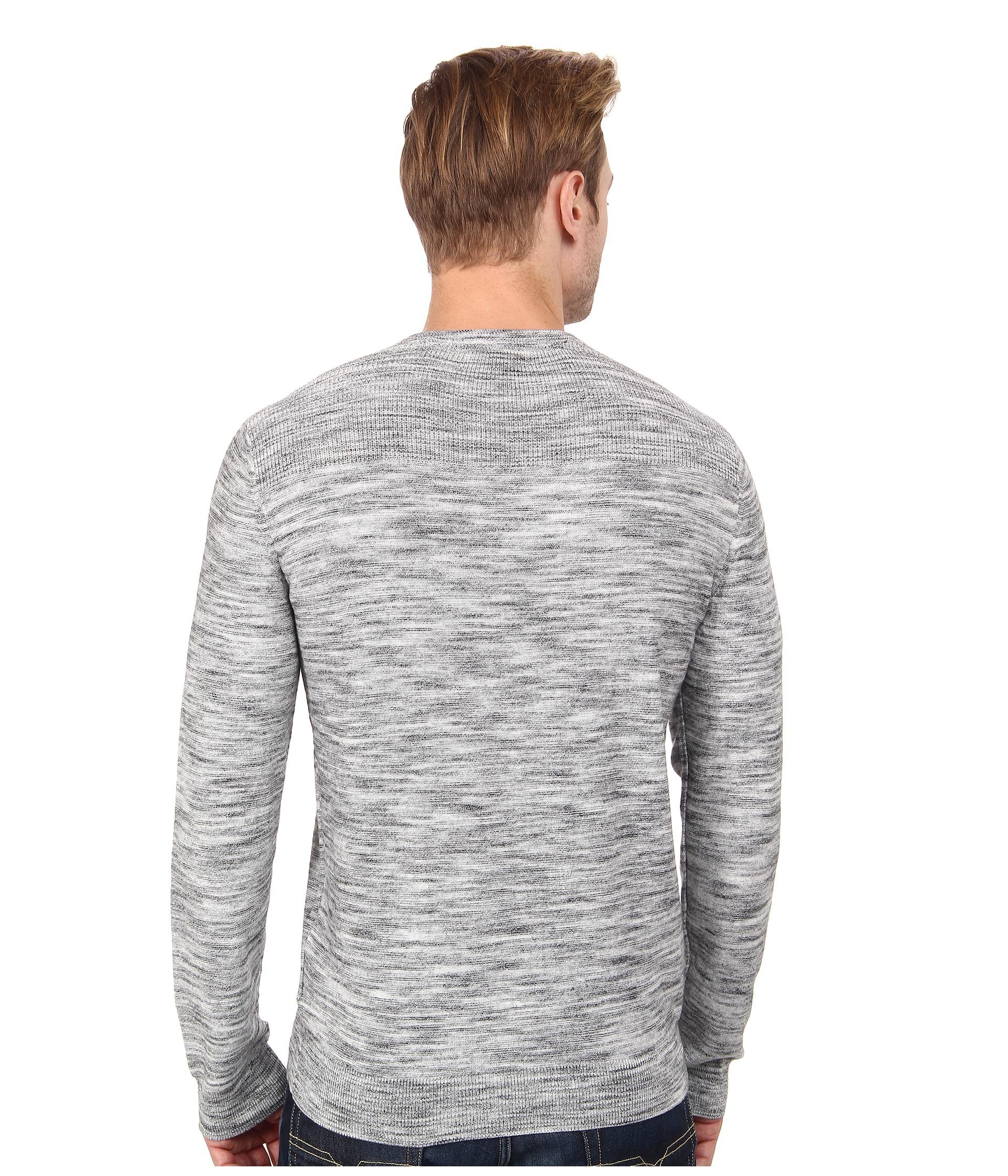 calvin klein jeans black space dye v neck sweater for. Black Bedroom Furniture Sets. Home Design Ideas