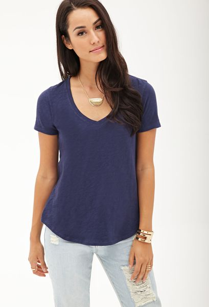 Forever 21 Slub Jersey V-Neck Tee in Blue (Navy)