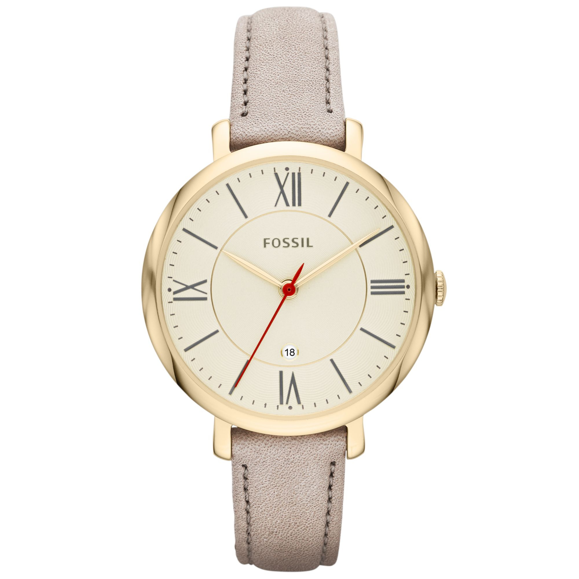 Lyst - Fossil Womens Jacqueline Gray Leather Strap Watch ...