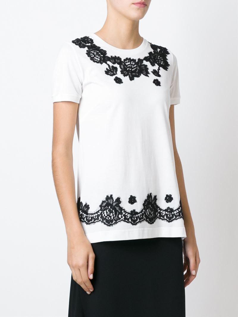 lyst dolce gabbana floral lace embellished t shirt in. Black Bedroom Furniture Sets. Home Design Ideas