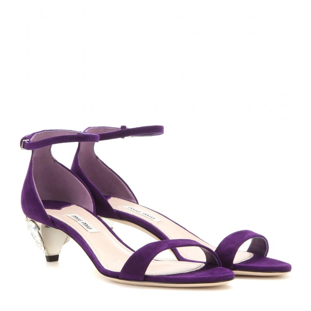 Miu miu Embellished Suede Sandals in Purple