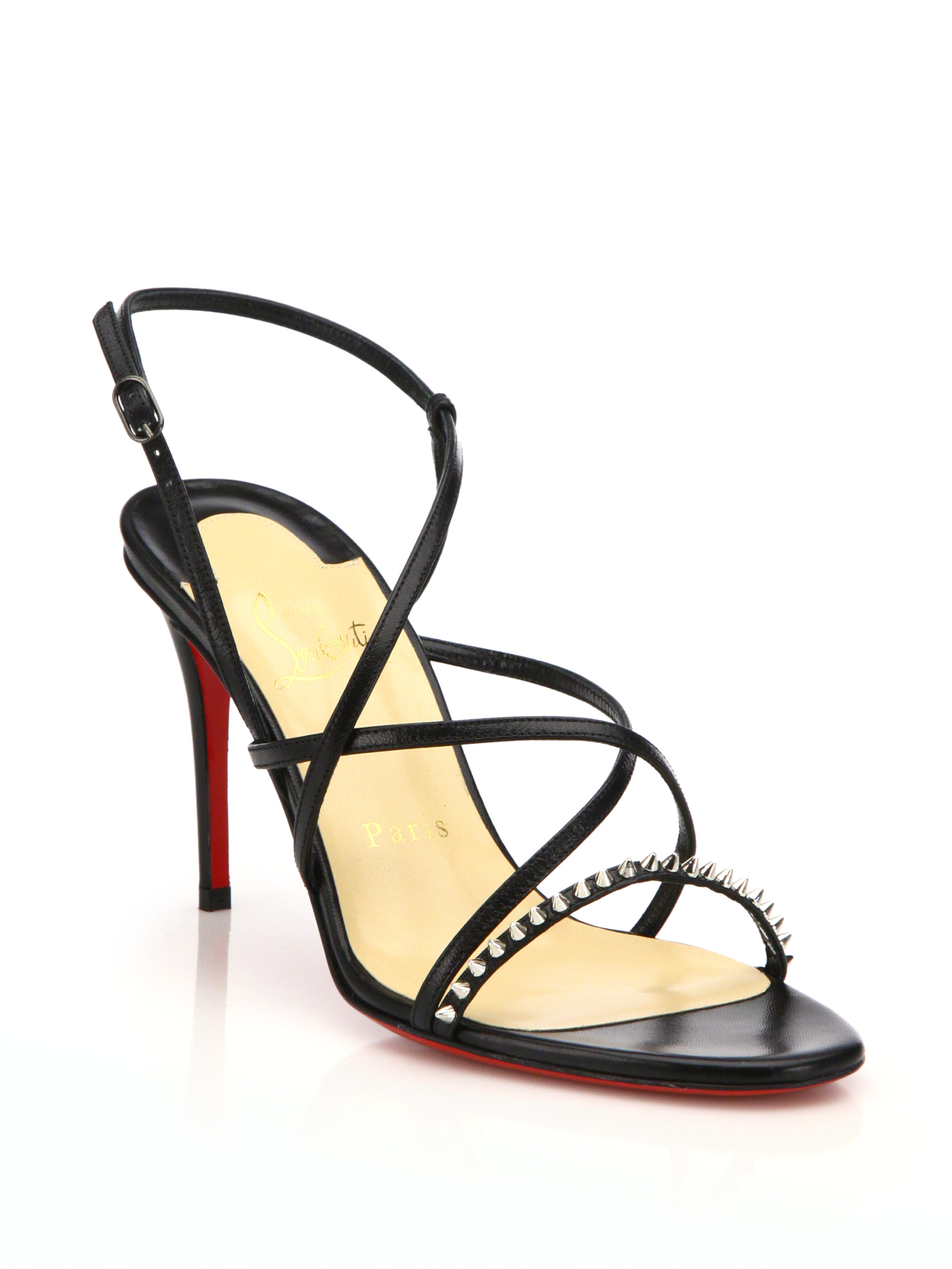 louboutin black strappy sandals
