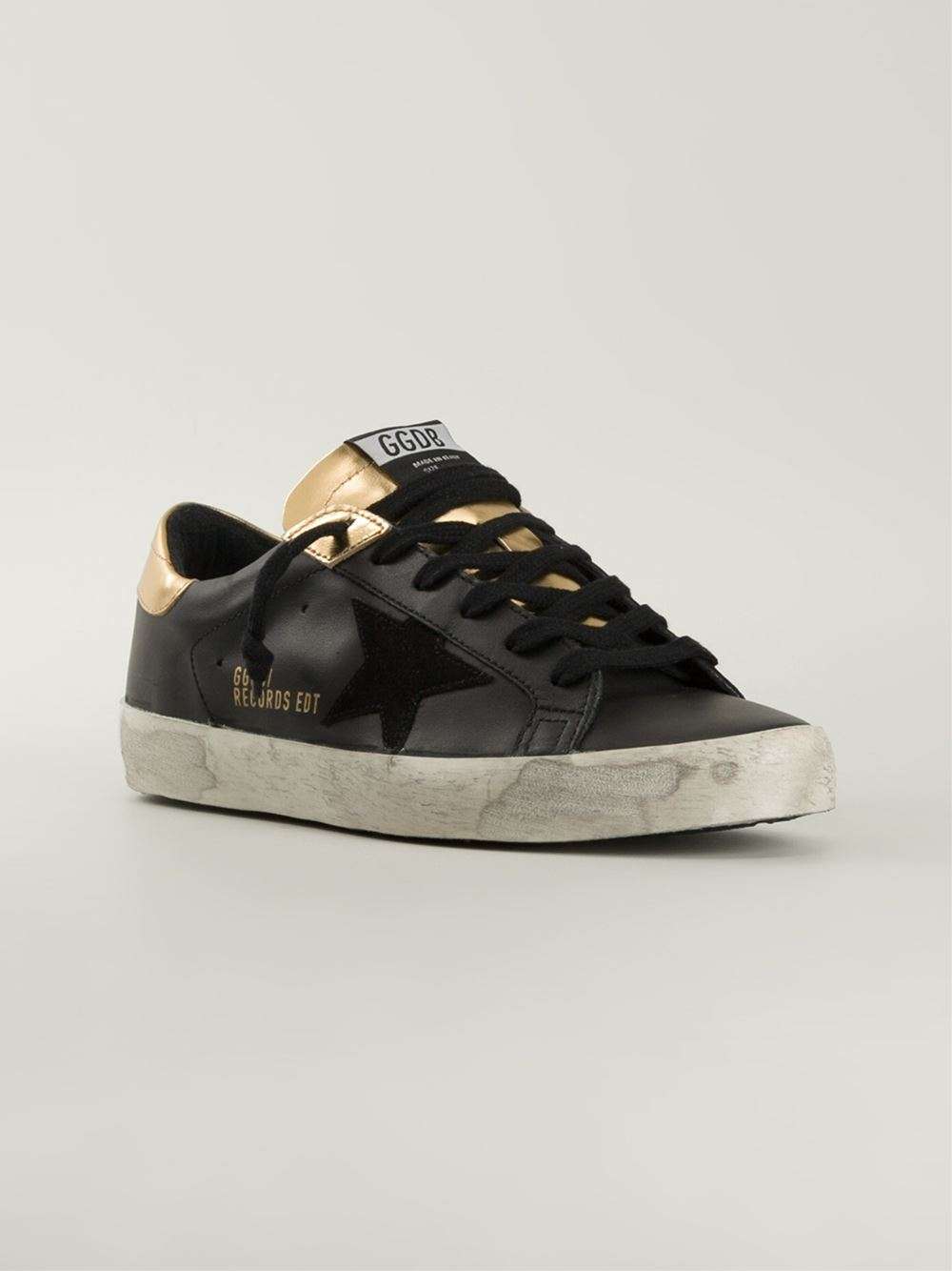 lyst golden goose deluxe brand 39 superstar records edition 39 sneakers in black. Black Bedroom Furniture Sets. Home Design Ideas