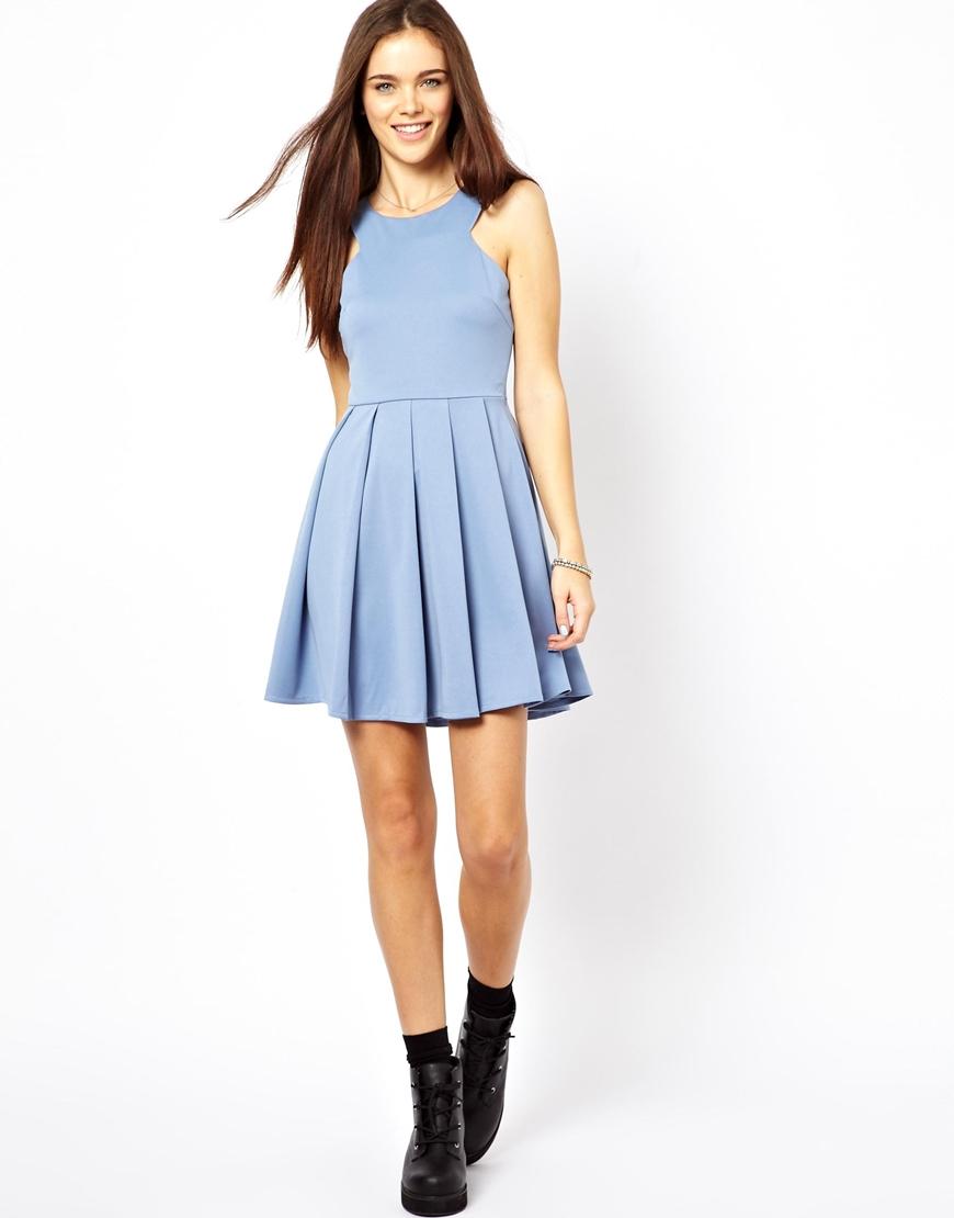 Glamorous Mini Dress with Full Skirt in Blue | Lyst