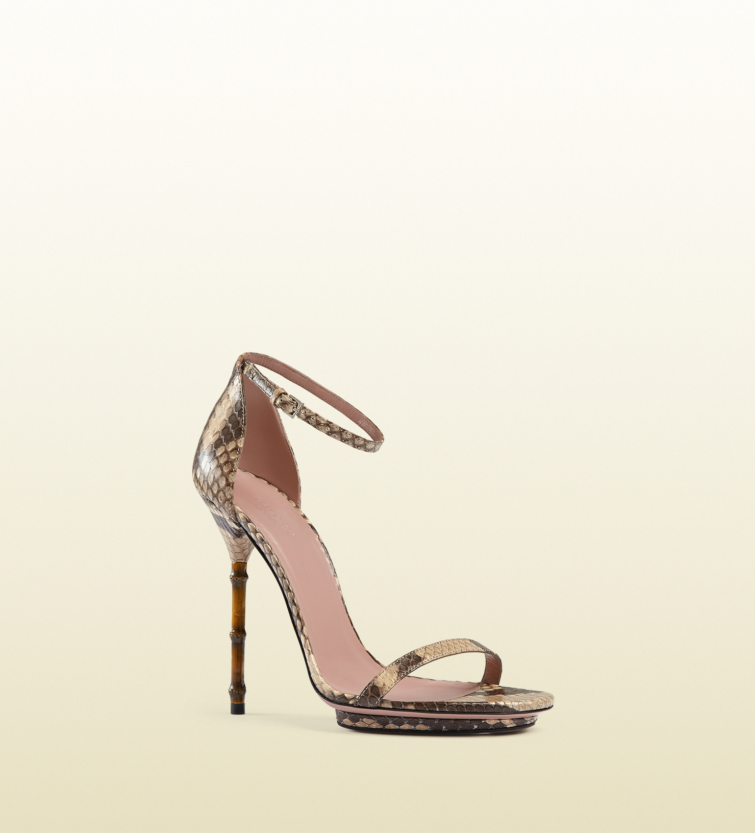 aff30b4ebc5 Lyst - Gucci Python Sandal With Bamboo Shaped Heel