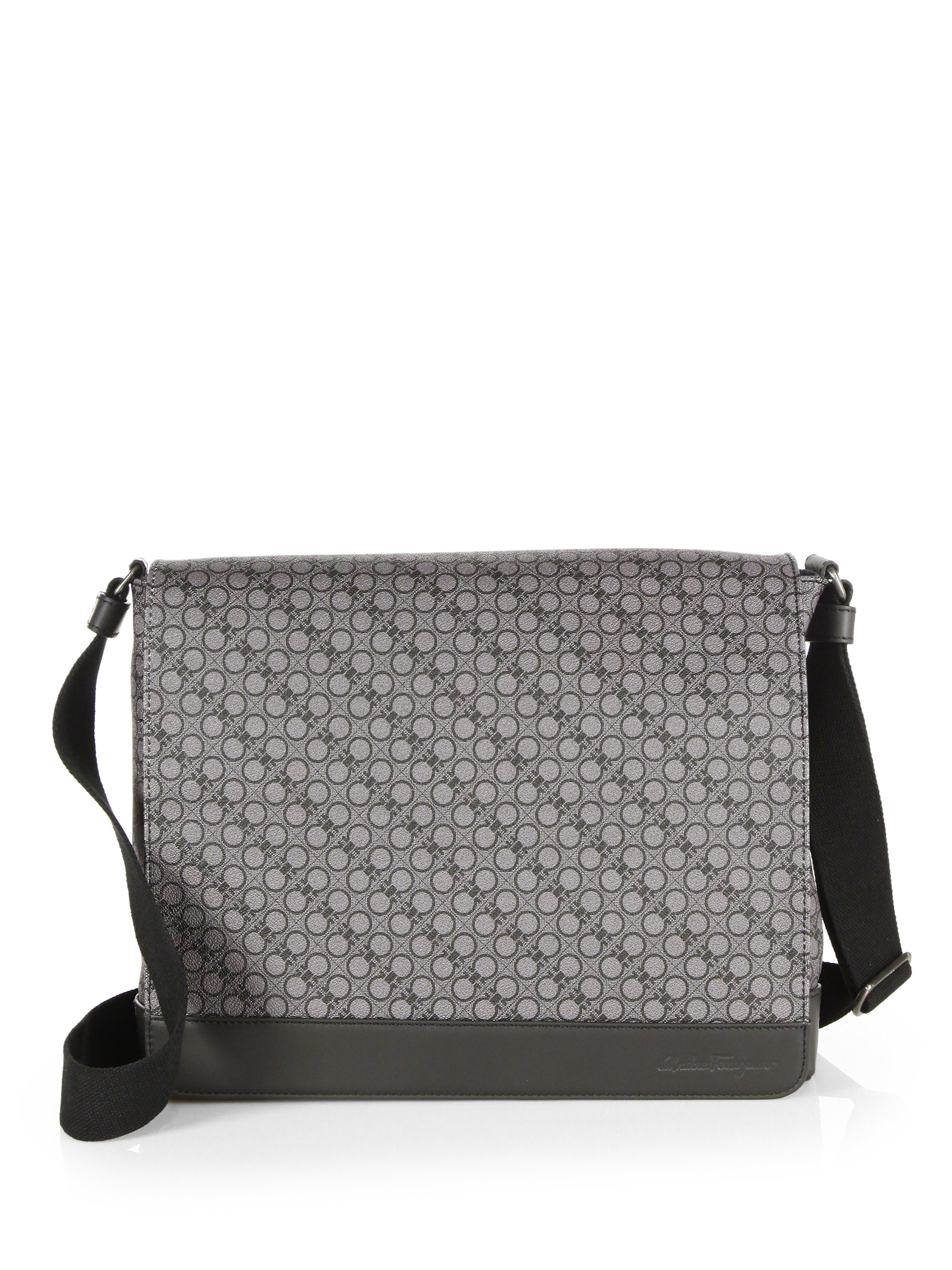 Lyst - Ferragamo Gancio Tex Messenger Bag in Gray for Men 0c1b9ef23d6ab