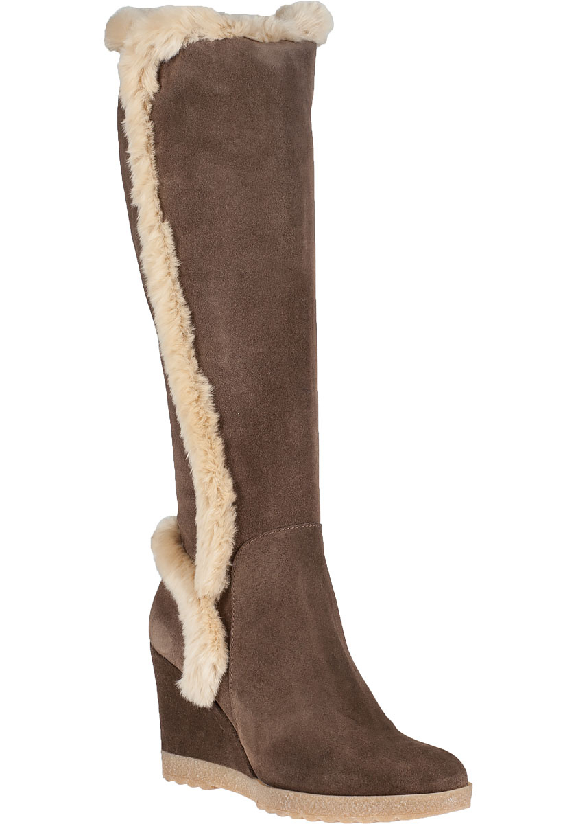 aquatalia wedge boot smog suede in gray lyst