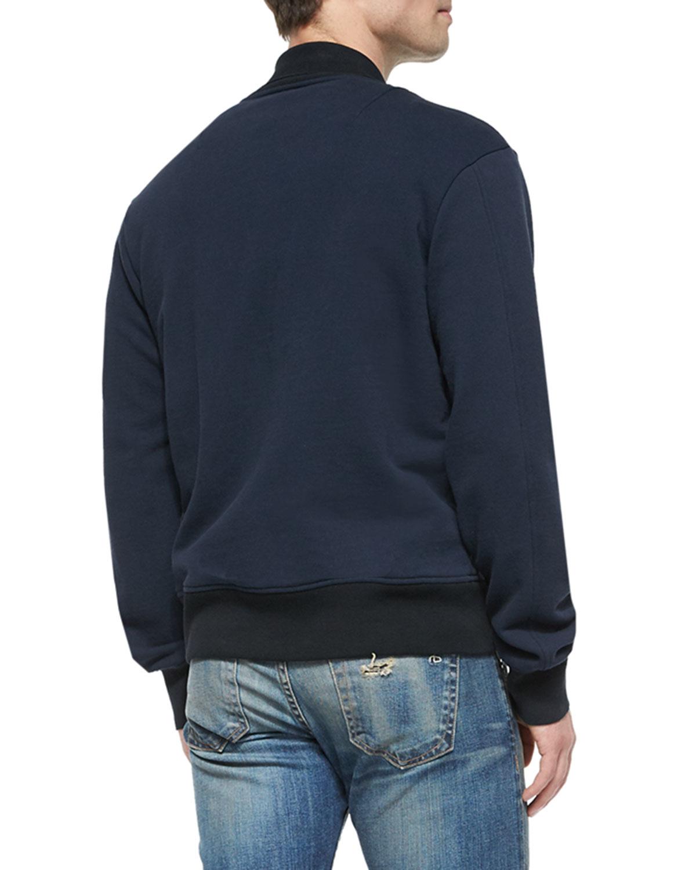 Rag & bone Knit Varsity Jacket in Blue for Men Lyst