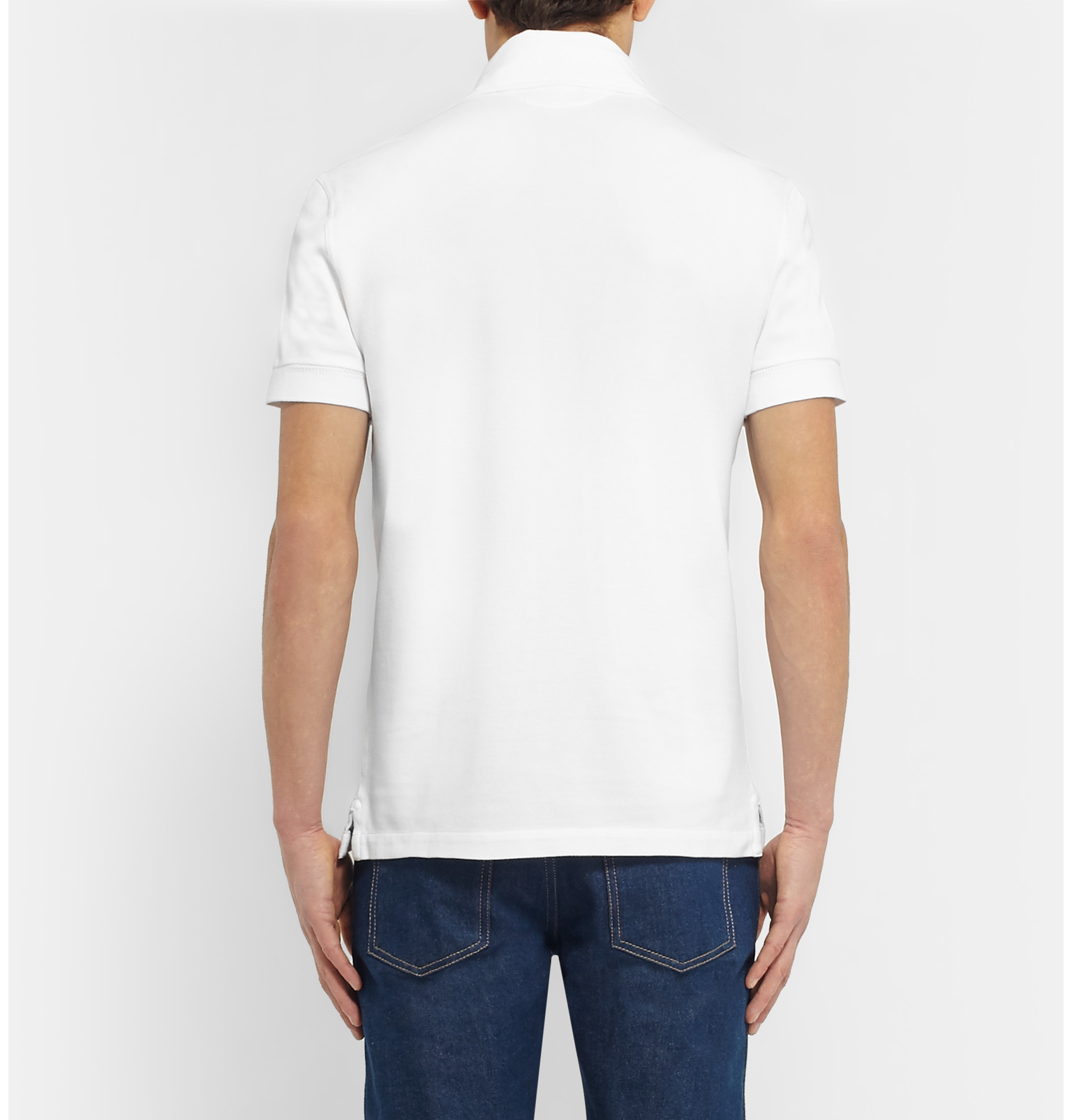 Tom Ford Slim Fit Cotton Piqu Polo Shirt In White For Men
