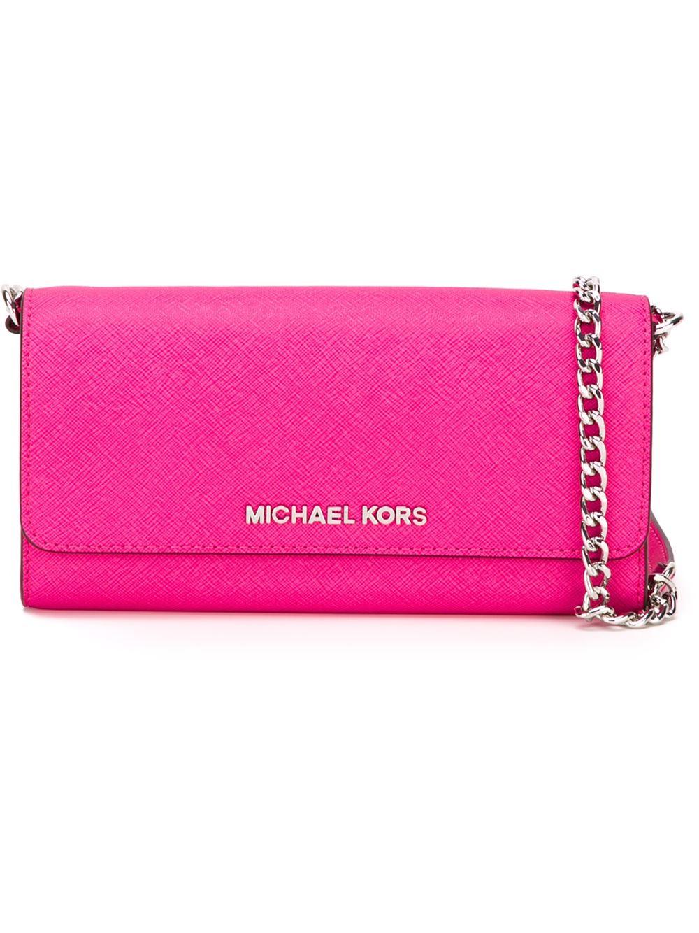 98d15e6e585d Michael michael kors Jet Set Travel Wallet Cross-Body Bag in Pink | Lyst
