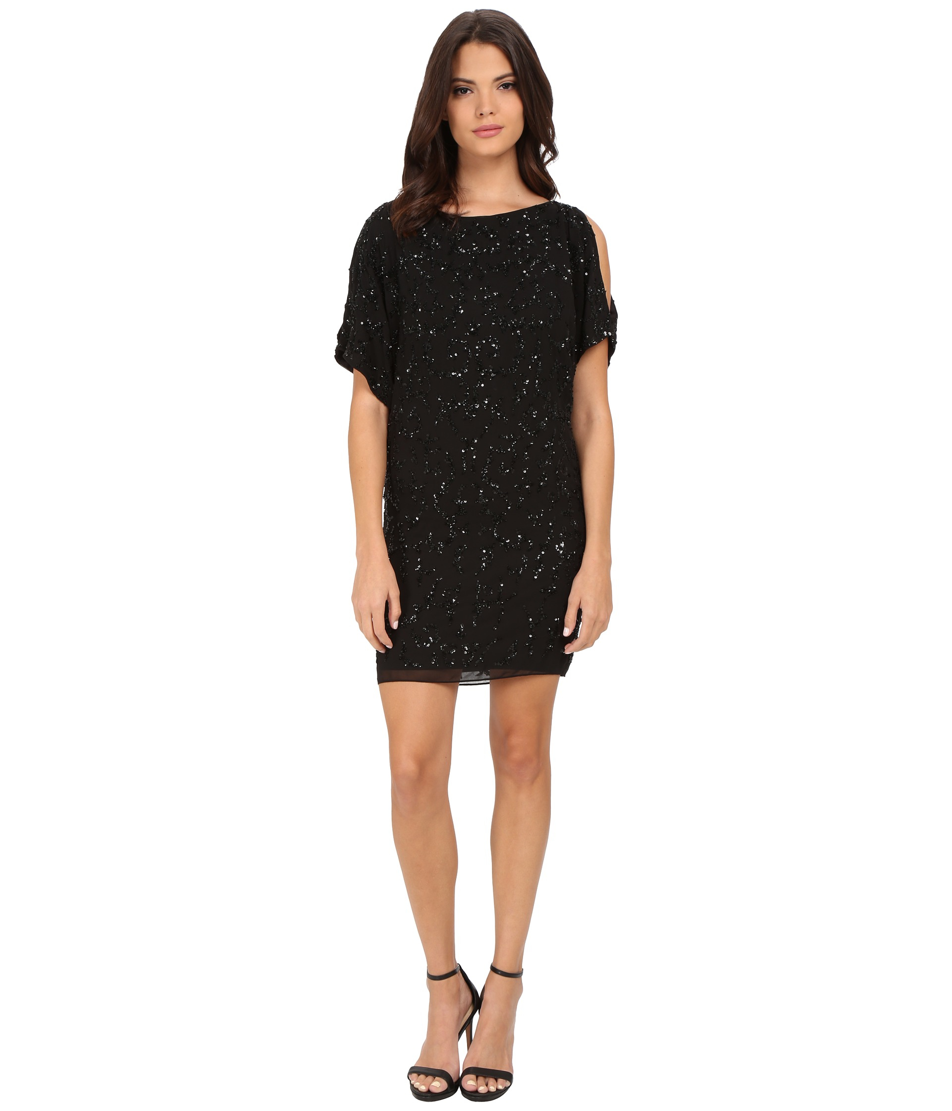 Aidan mattox Cold Shoulder Beaded Cocktail Dress in Black  Lyst