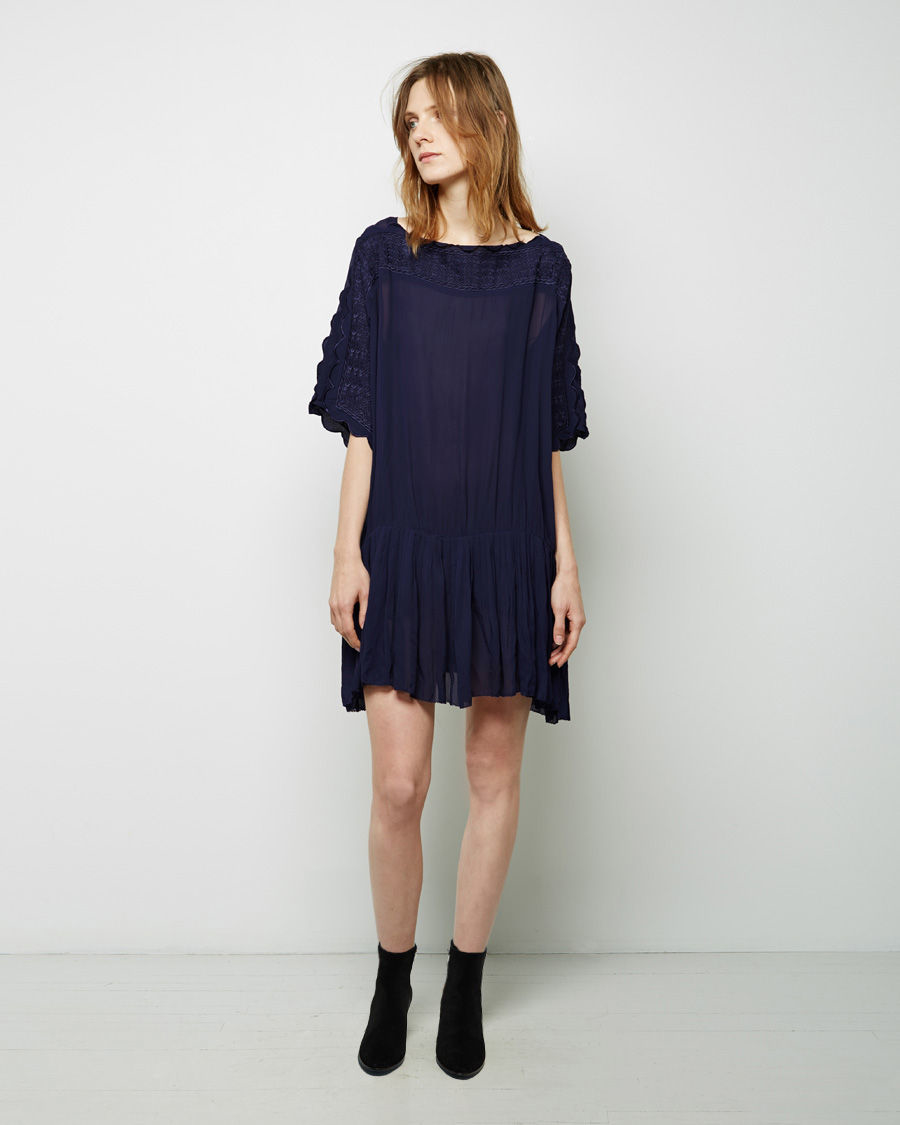 Toile isabel marant aude embroidered dress in blue lyst for Isabel marant shirt dress