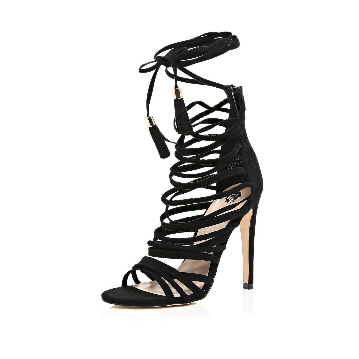 aedb56a056d River Island Black Strappy Tassel Heeled Sandals in Black - Lyst
