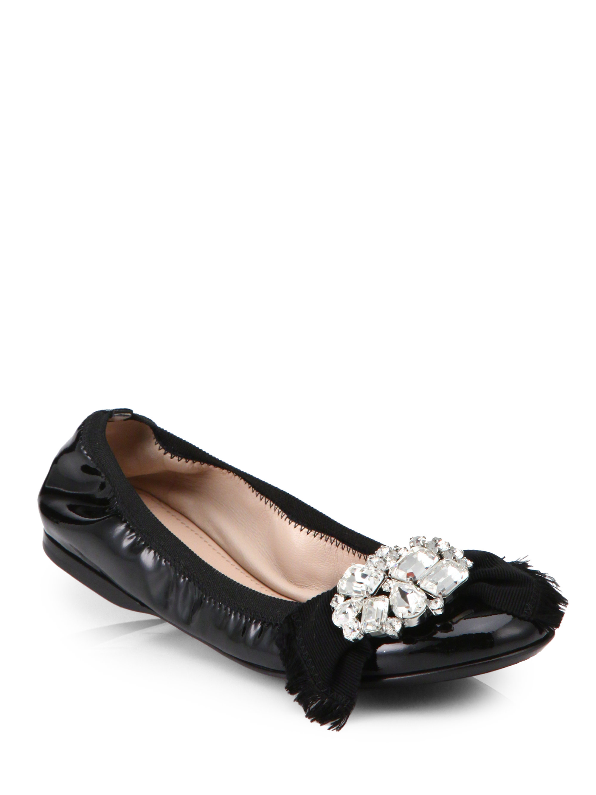 Lyst Miu Miu Crystal Embellished Leather Ballet Flats In