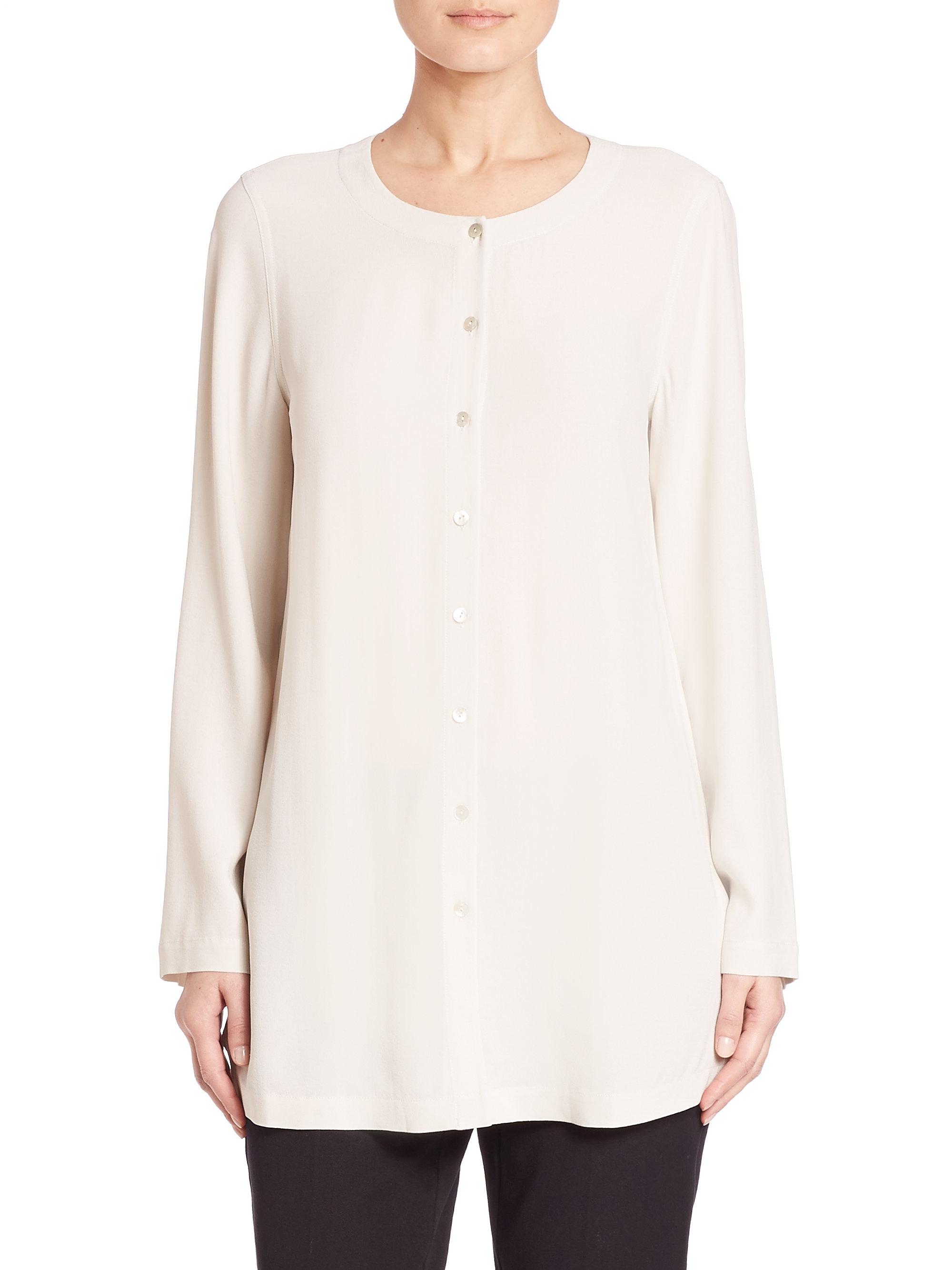 Eileen fisher silk button down shirt in white lyst for Silk button down shirt