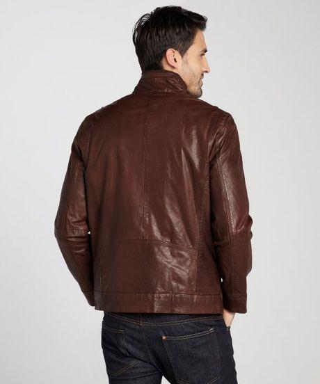 Marc New York Driftwood Vandam Vintage Calf Leather Jacket in Brown