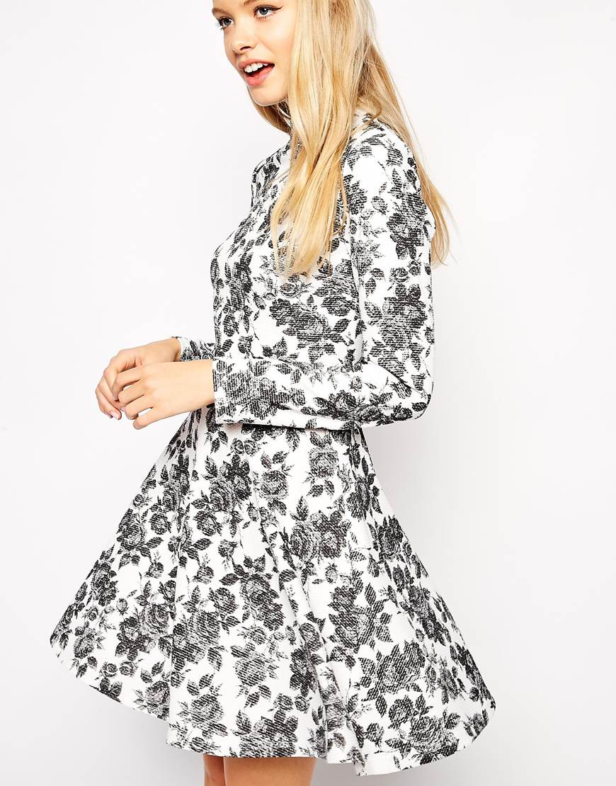 f7a7416b2b0e Lyst - ASOS Skater Dress In Textured Floral With High Neck And Long ...