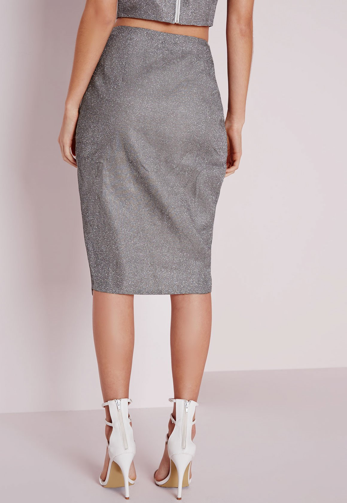 missguided wrap front midi skirt silver in gray lyst
