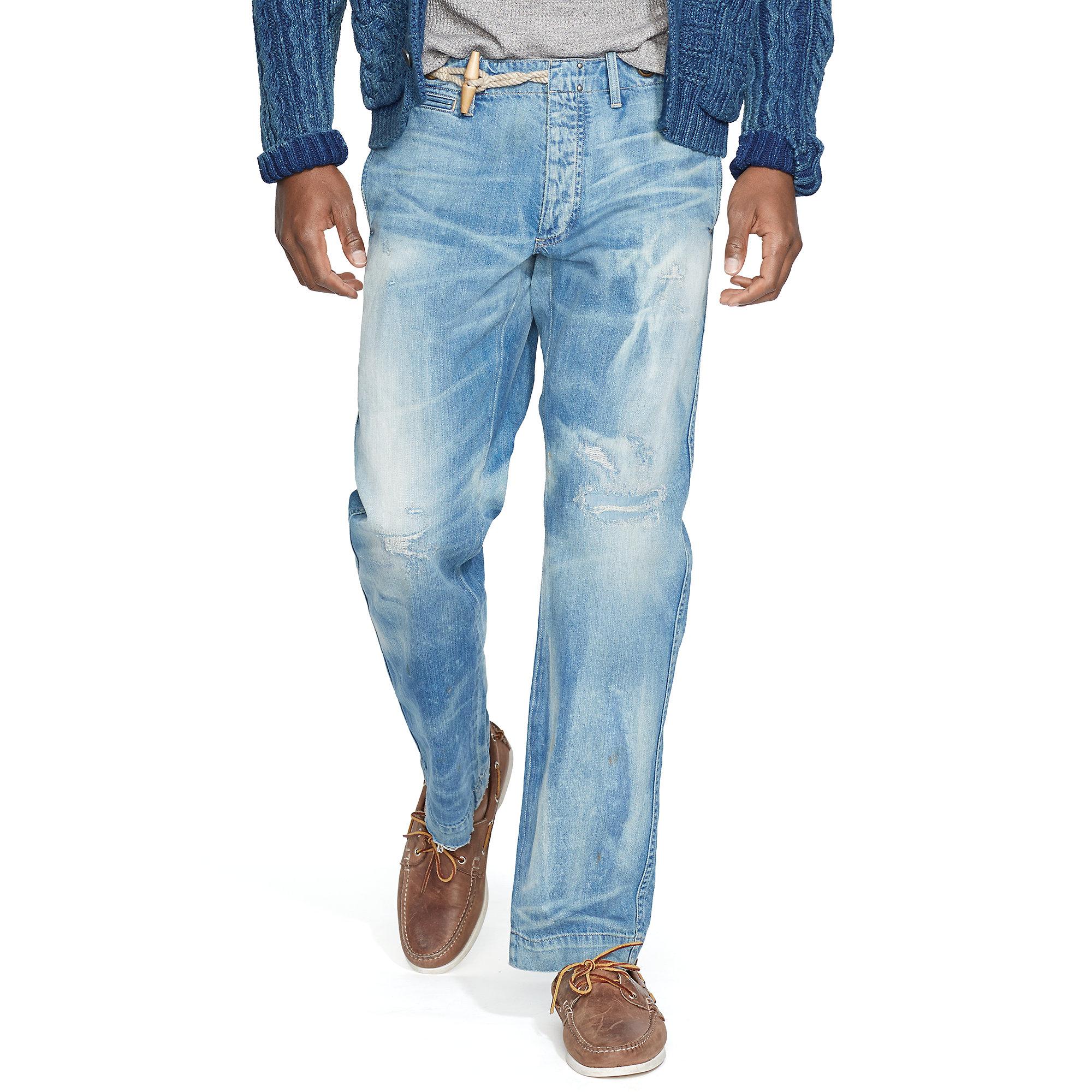 lyst polo ralph lauren nautical denim trouser in blue. Black Bedroom Furniture Sets. Home Design Ideas