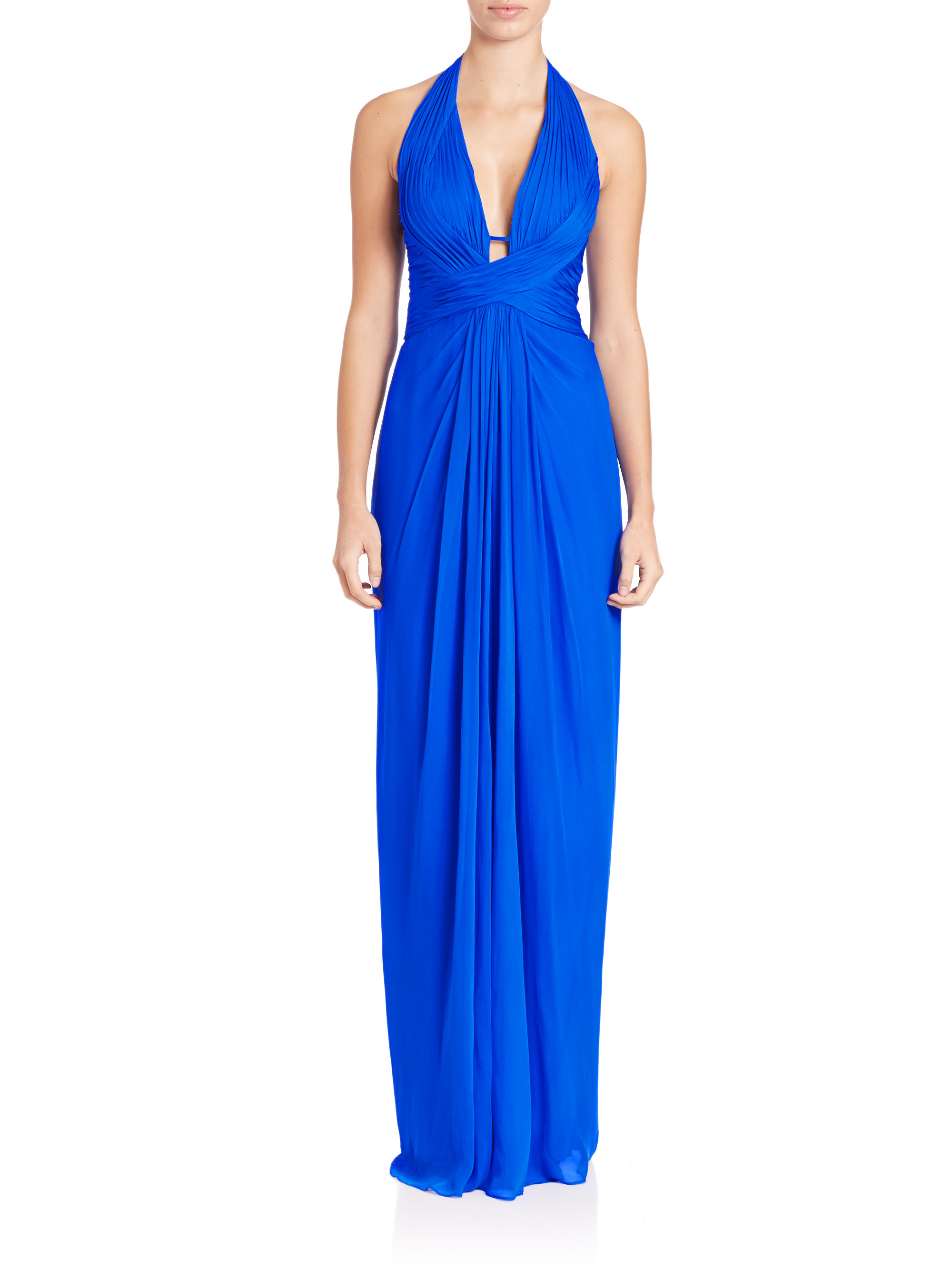 Aidan mattox Draped Halter Silk Chiffon Gown in Blue | Lyst