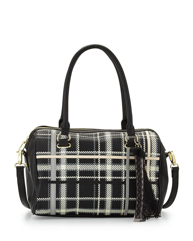 betsey johnson tartan print tassel satchel bag in black lyst