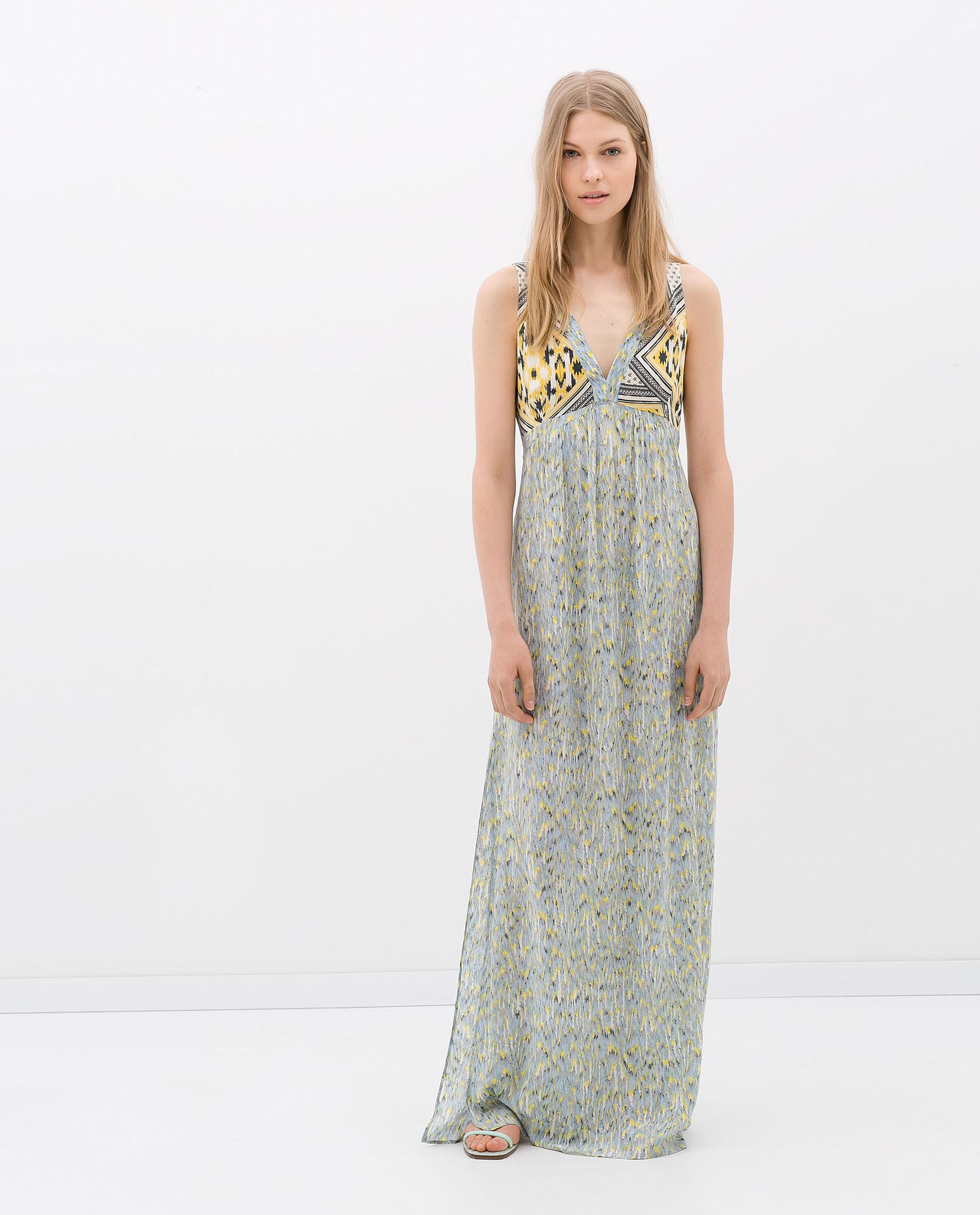 Zara Combined Maxi Dress in Yellow | Lyst