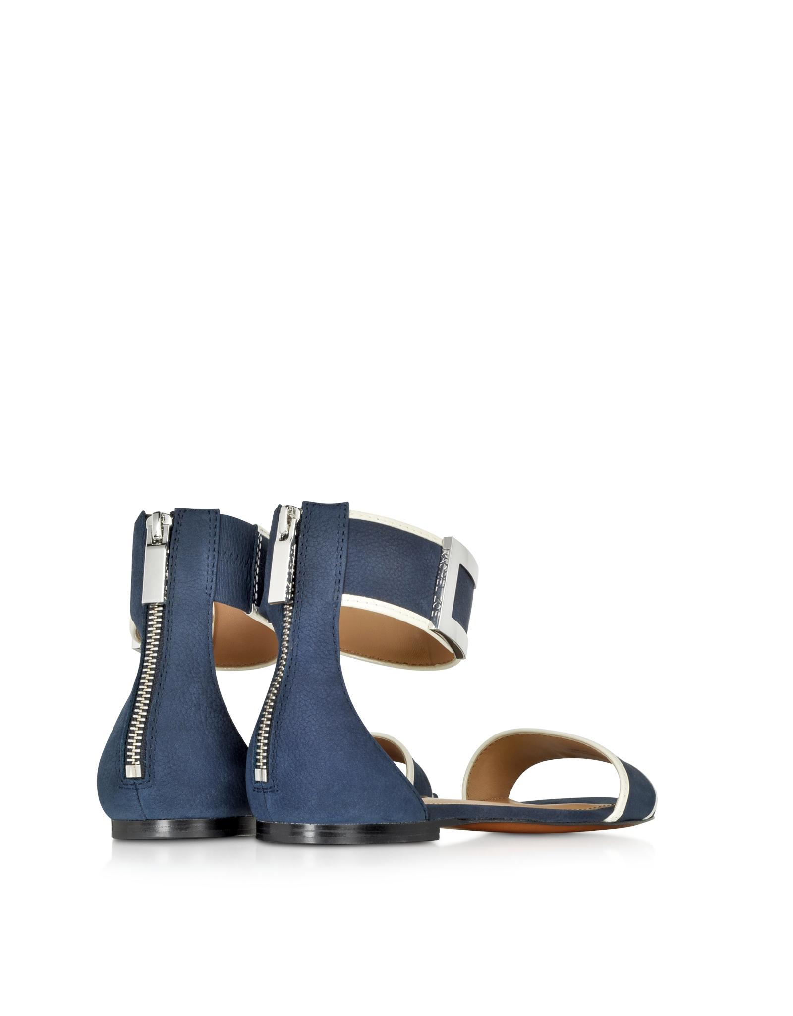 Rachel Zoe Gracie Navy Blue and White Flat Sandal in Blue ...