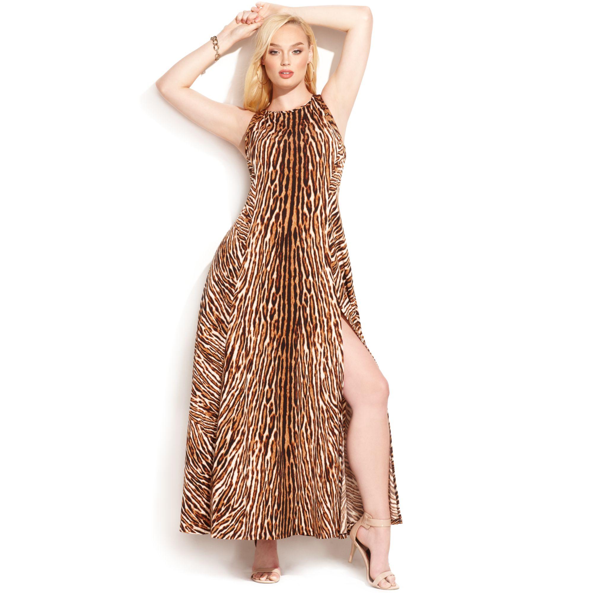 Michael kors Michael Plus Size Animalprint Studtrim Maxi Dress in ...