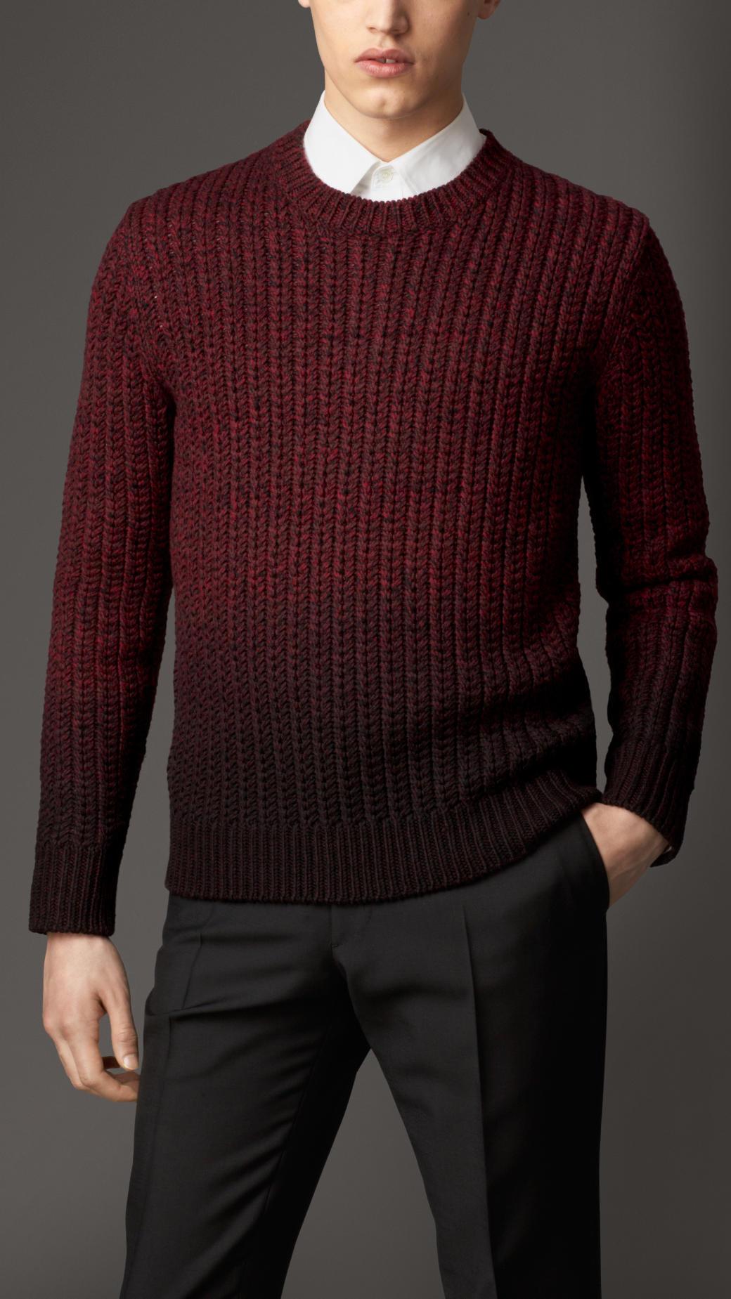 Wool Sweater Grey: Burberry Merino Wool Dip Dye Sweater In Purple For Men