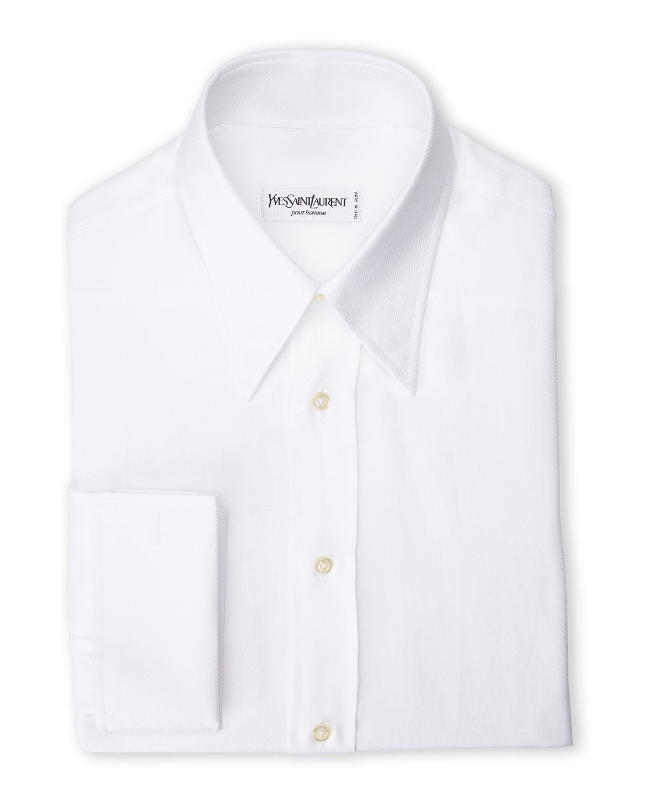 Saint Laurent White French Cuff Woven Dress Shirt In White