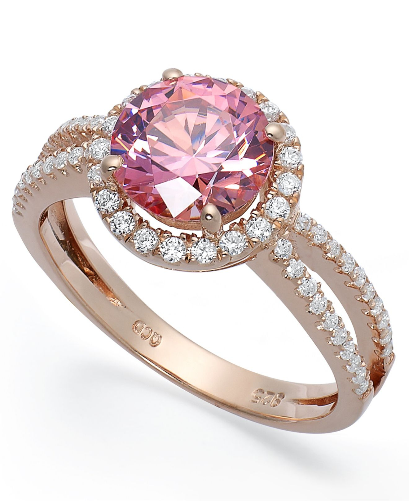 6d81c69690 Macy's 14k Rose Gold Over Sterling Silver Ring, Pink Cubic Zirconia ...