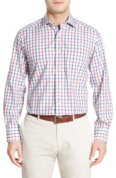 David donahue regular fit plaid sport shirt in white for for David donahue french cuff shirts