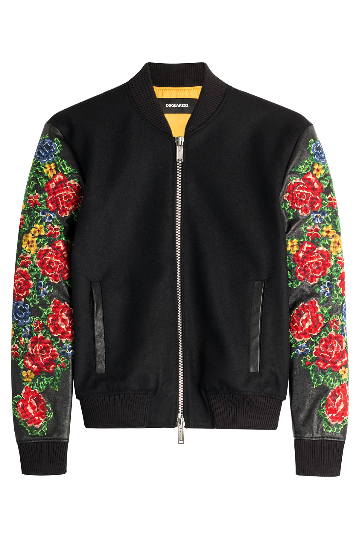 Dsquared² wool bomber jacket with embroidered sleeves