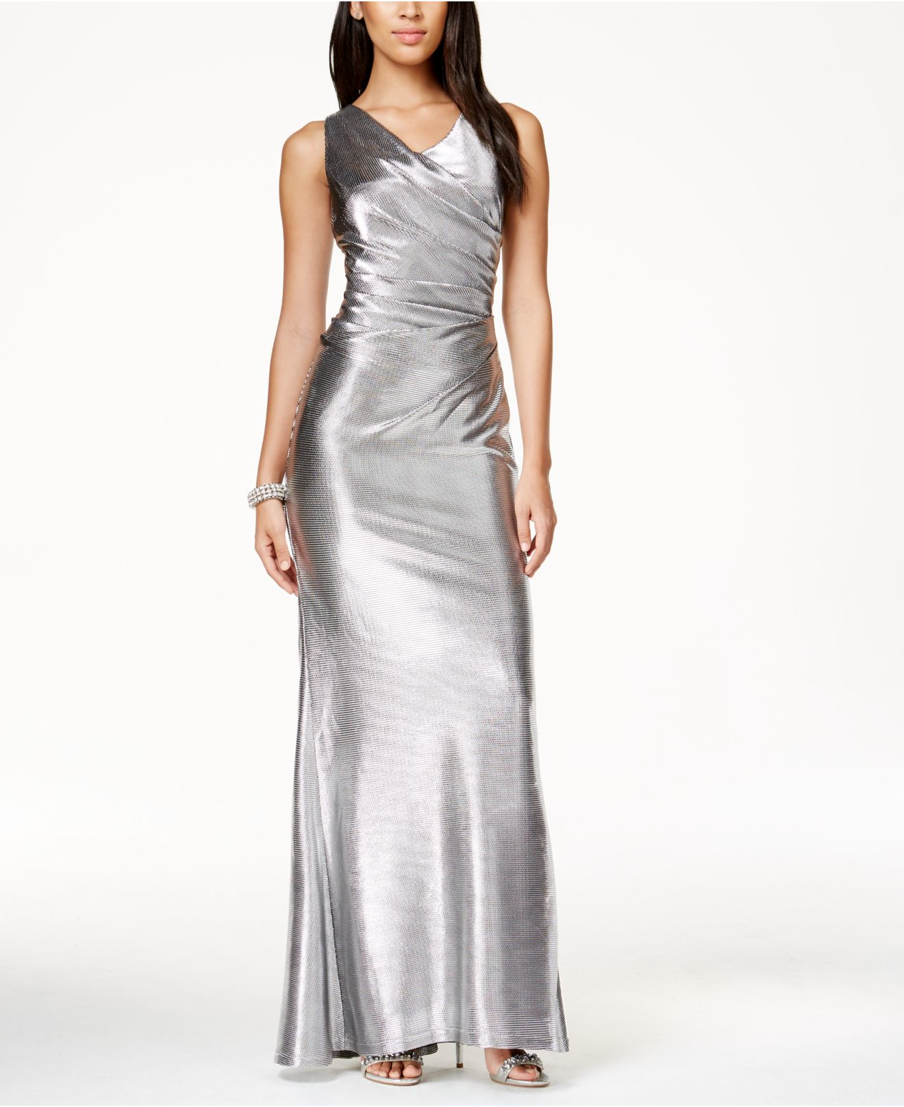 Lyst - Vince Camuto Sleeveless Metallic Gown in Metallic