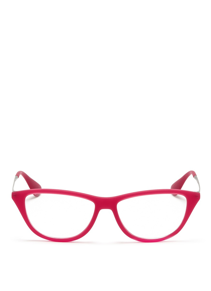 7dd5c84e20d Lyst - Ray-Ban Rubber Acetate Cat Eye Optical Glasses in Pink