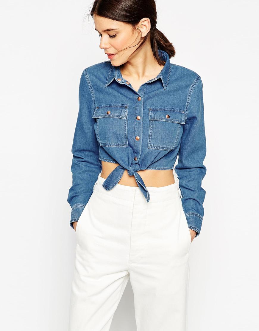 21f635c2d2 Lyst - ASOS Denim Tie Front Shirt In Vintage Wash in Blue