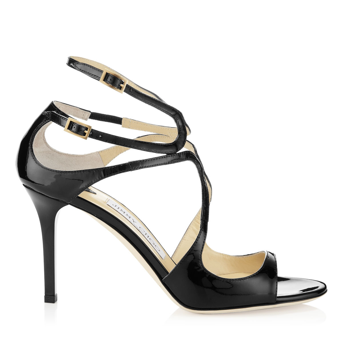 Jimmy Choo Ivette Black Patent Leather Strappy Sandals In