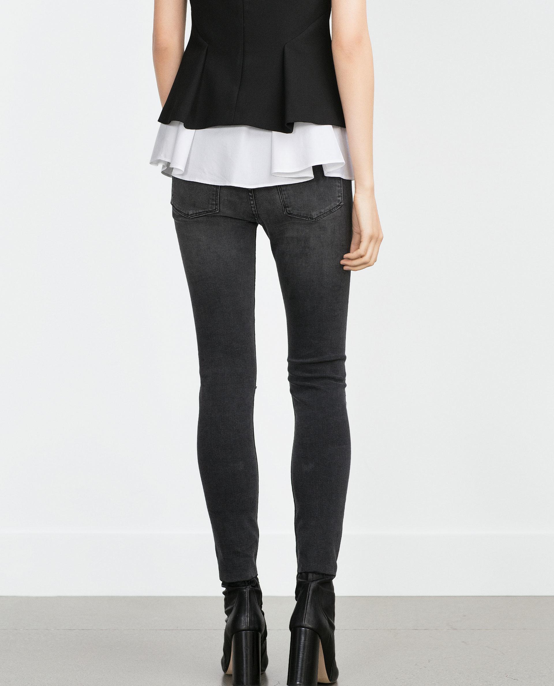 Elegant Zara Wide Leg Jeans Wide Leg Jeans In Blue  Lyst