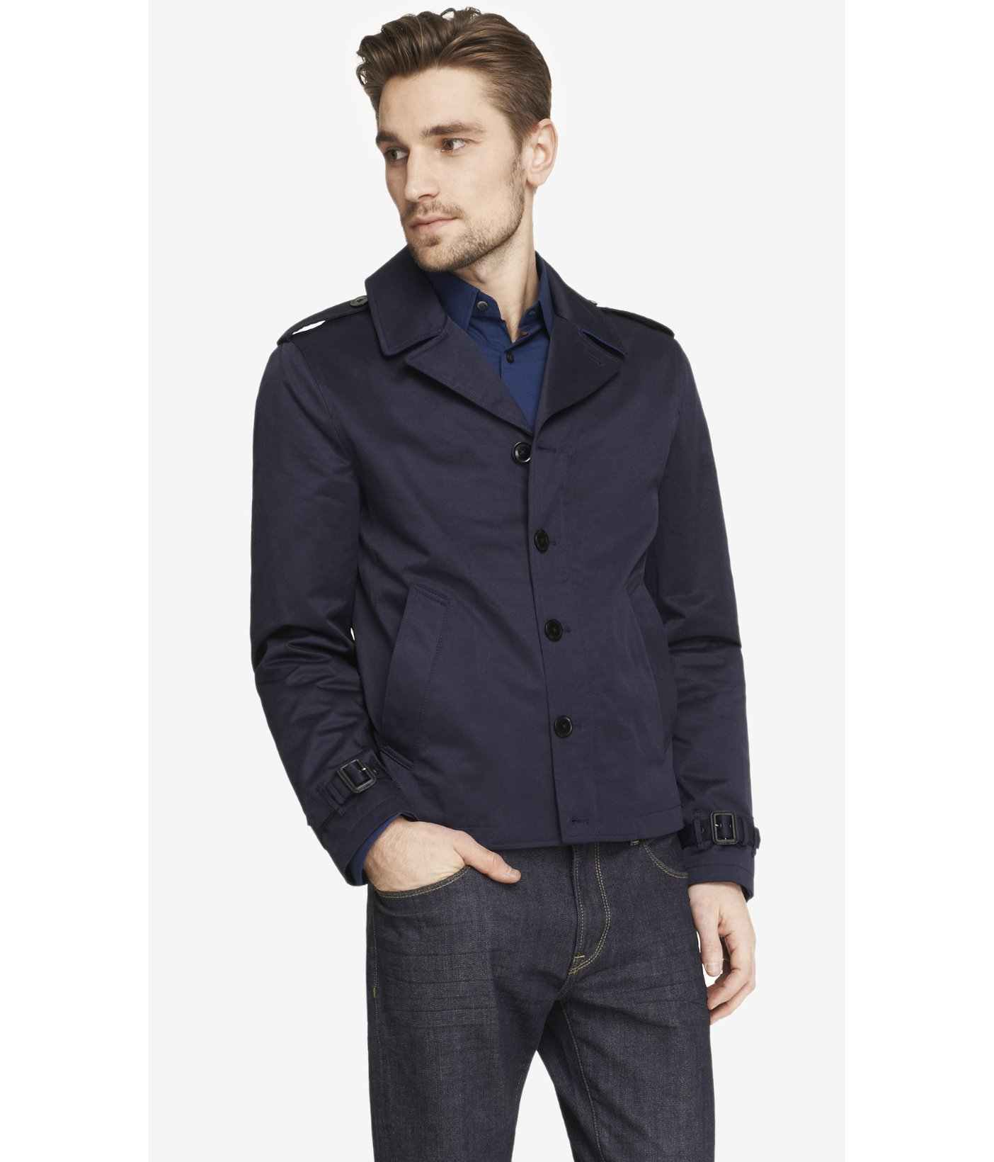 Cropped Trench Coat Men - Tradingbasis