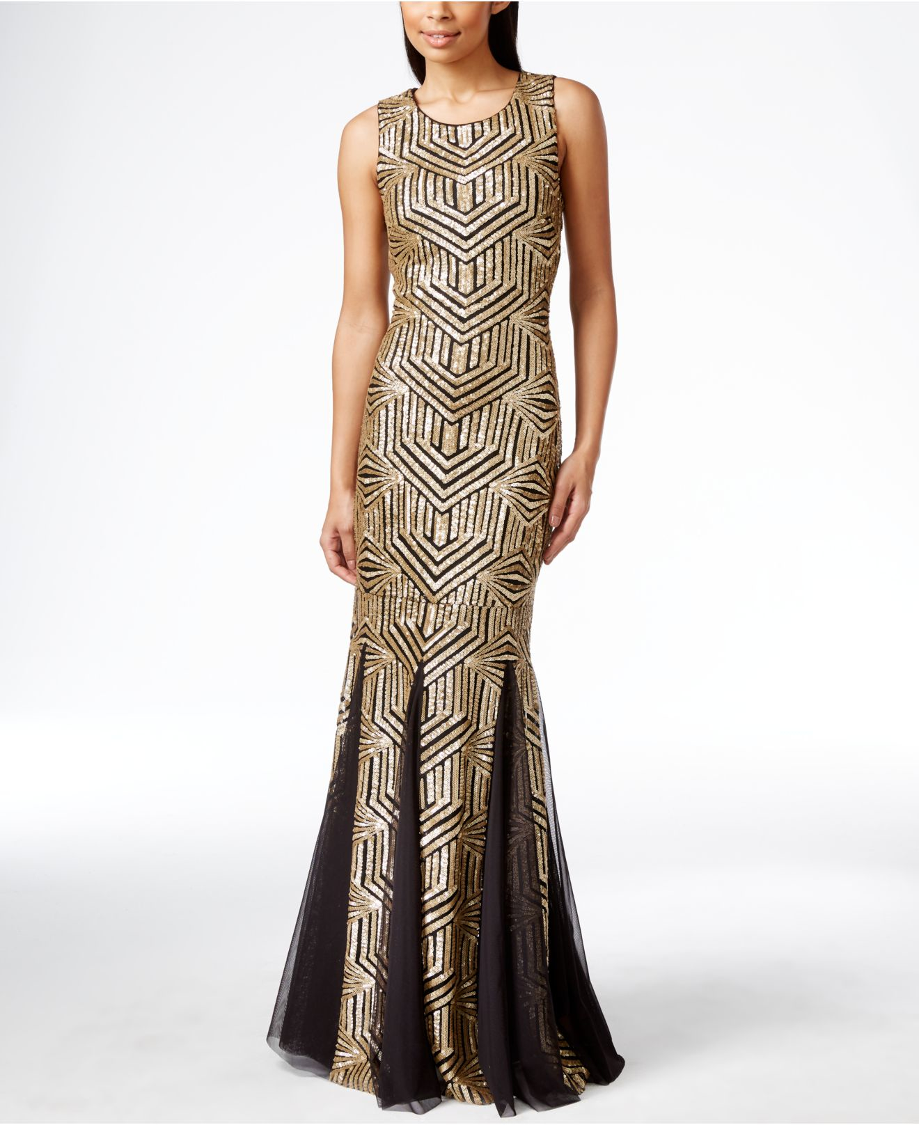 Lyst Calvin Klein Sequined Open Back Gown In Metallic