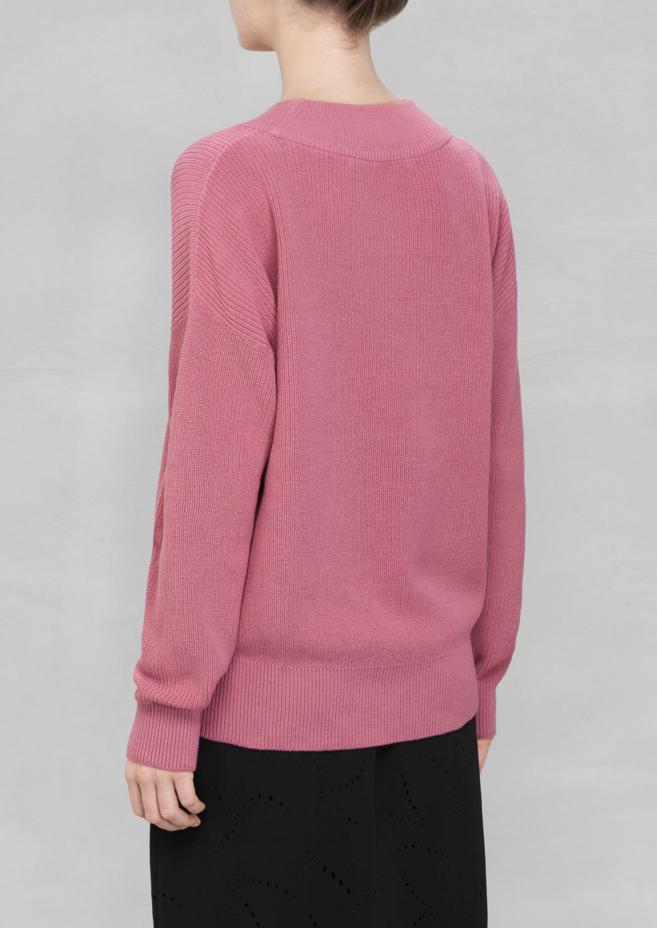& other stories Wide Collar Knit Sweater in Pink | Lyst