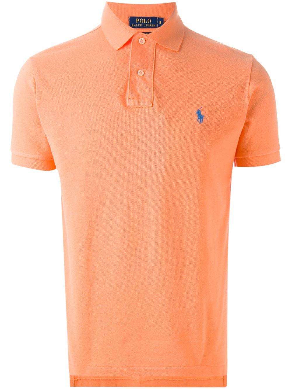 Polo ralph lauren classic polo shirt in orange for men for Orange polo shirt mens