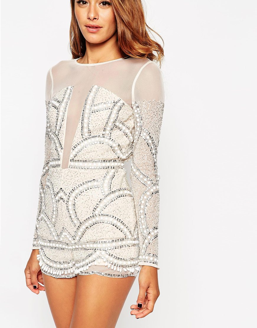89917856b87 Lyst - ASOS Pretty Embellished Playsuit With Scalloped Edge
