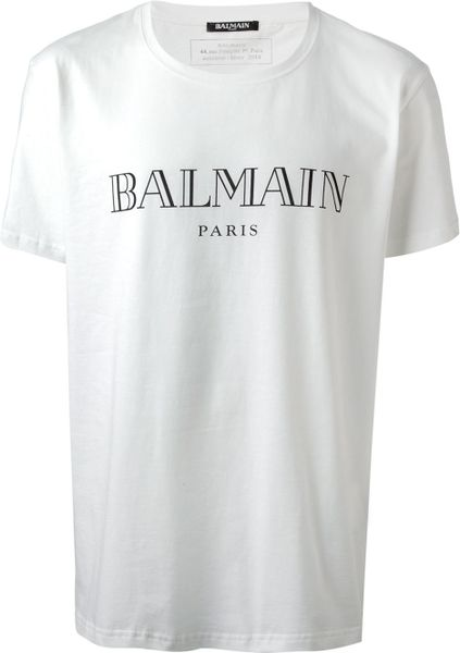 balmain logo print tshirt in white for men lyst. Black Bedroom Furniture Sets. Home Design Ideas