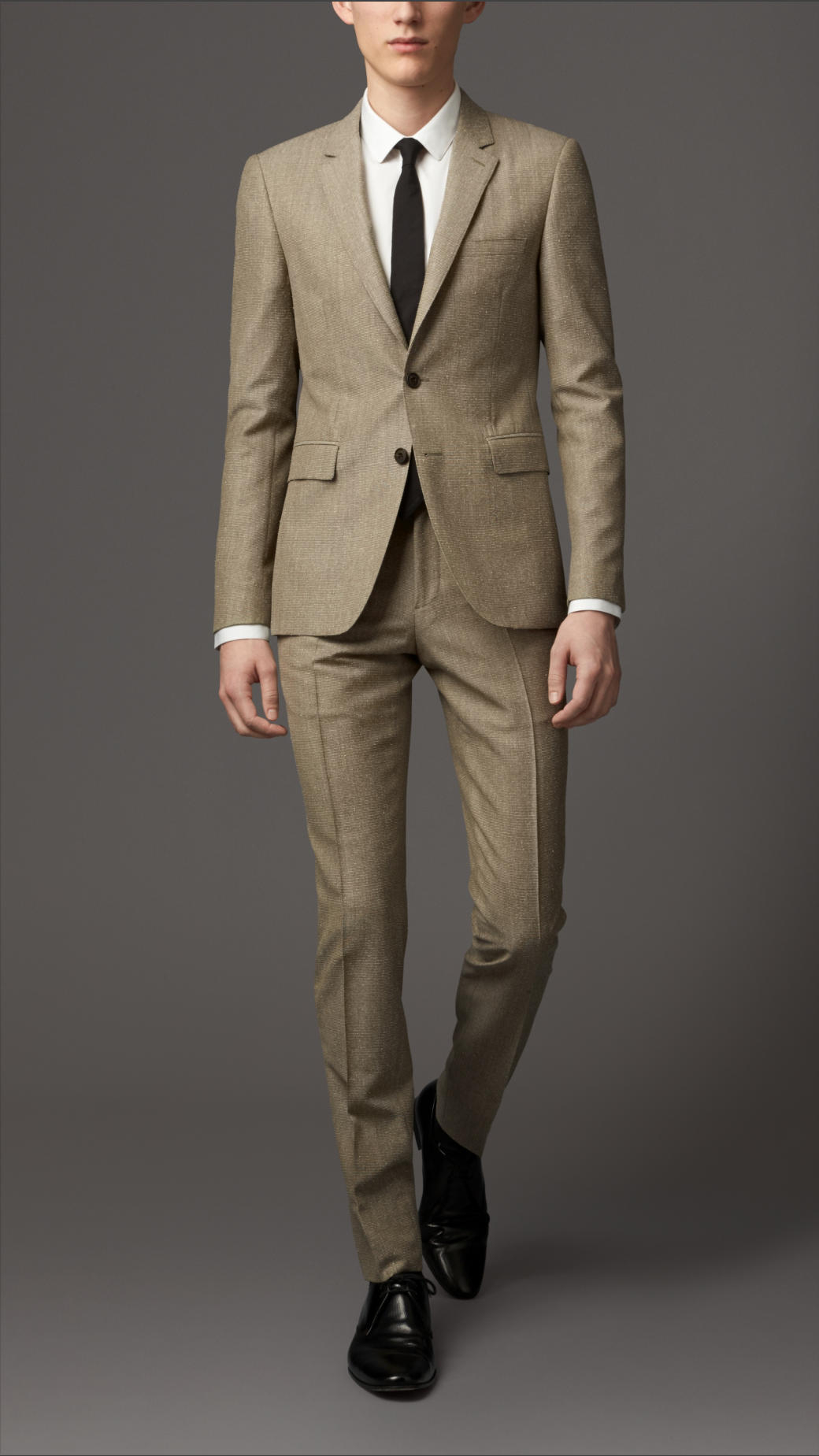 Burberry Slim Fit Wool Mohair Suit in Natural for Men | Lyst