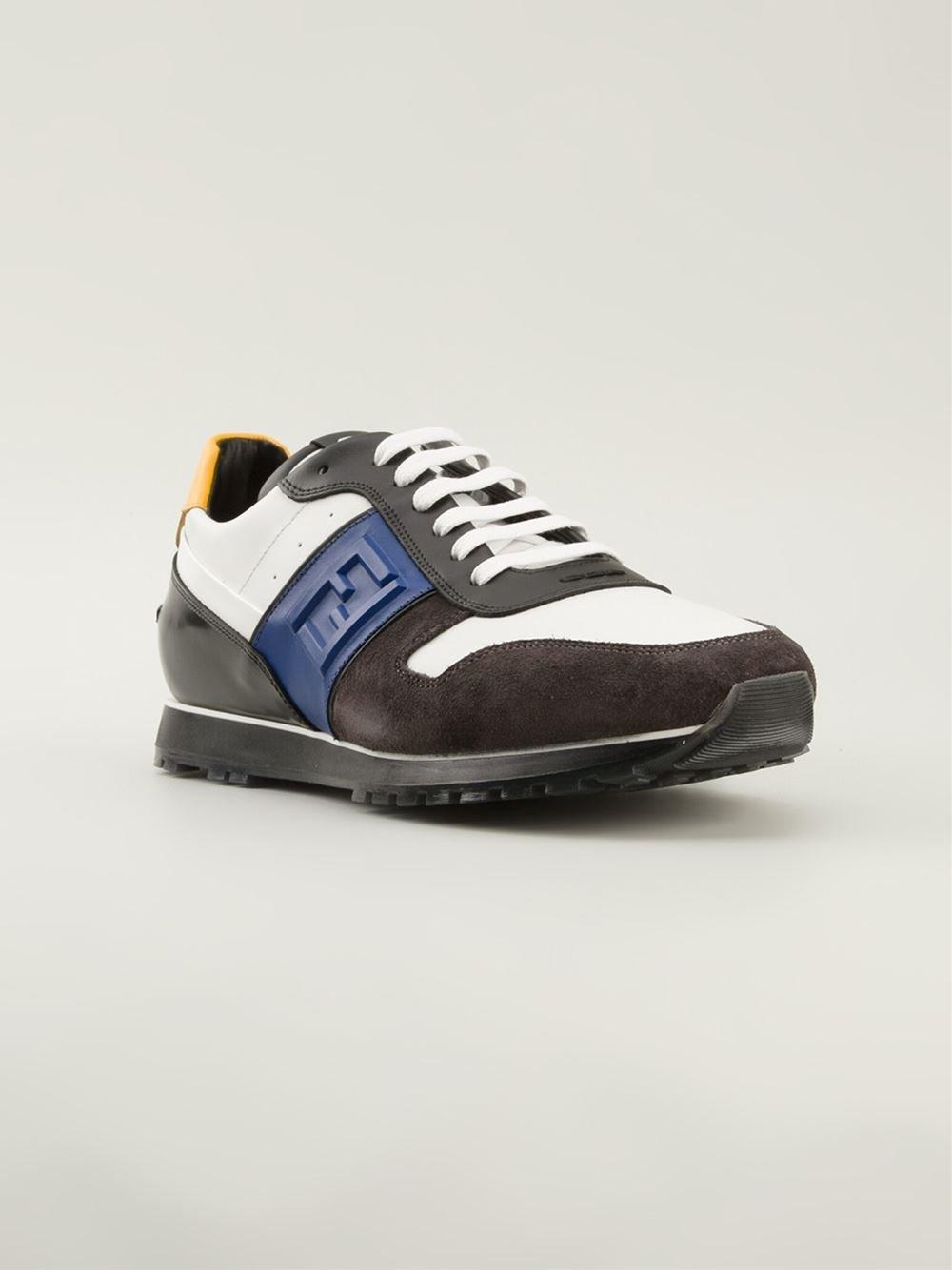 Fendi Low Sneakers In White Brown For Men Lyst