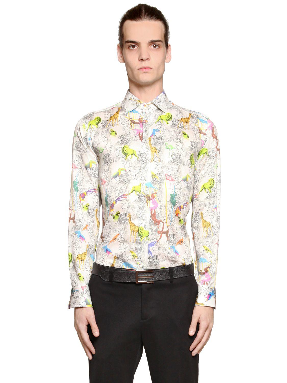 Lyst etro animal print cotton shirting shirt for men for Etro men s shirts