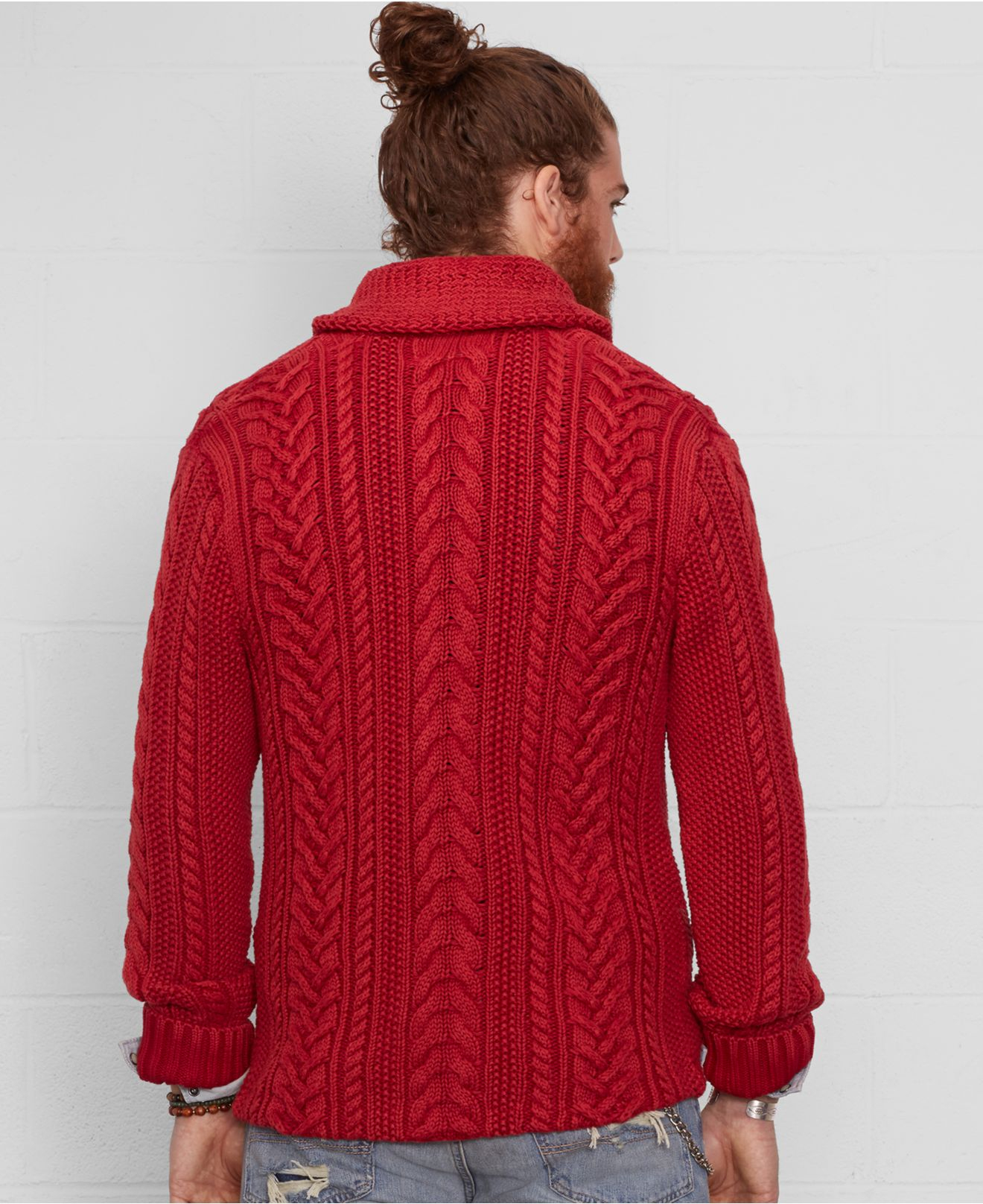 Denim & supply ralph lauren Cable Knit Shawl Cardigan in Red for ...